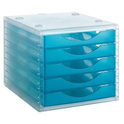 Modulo de 5 Cajones Traslucidos Archivotec 4000  Azul Translúcido