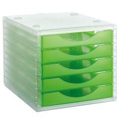 Modulo de 5 Cajones Traslucidos Archivotec 4000  Verde Translúcido