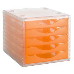 Modulo de 5 Cajones Traslucidos Archivotec 4000  Naranja Translúcido