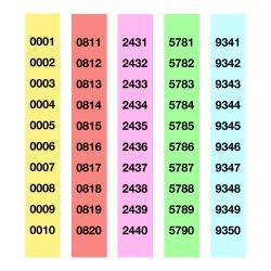 Tiras de Rifa Apli - colores surtidos 210x30 mm compuesto por dos talonarios del 1 al 4.999 - del 5.000 al 10.000