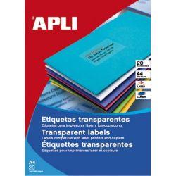 Etiquetas Adhesivas Translúcidas Mate 20 hojas  210x297 et/hoja 1