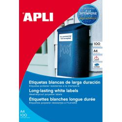 Etiquetas Adhesivas Poliester Blanco 100h  64,6x33,8 et/hoja 24