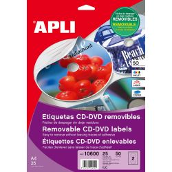 Etiquetas APLI CD-DVD 117mm