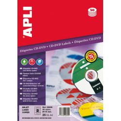 Etiquetas APLI CD-DVD 114mm