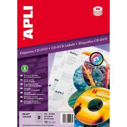 Etiquetas APLI CD-DVD 114mmm