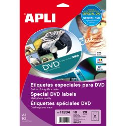 Etiquetas APLI DVD 117mm