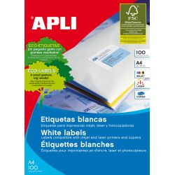 Etiquetas adhesivas APLI A4 Blancas 100h  70x36 et/hoja 24