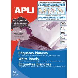 Etiquetas Adhesivas APLI A4 Blancas 500h  210x297 et/hoja 1