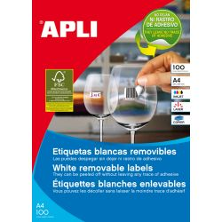 Etiquetas  Adhesivas APLI A4 Removibles  100h  52,5x21,2 et/hoja 56