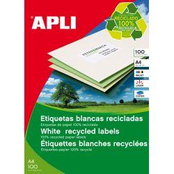 Etiquetas Adhesivas Apli recicladas 100h  210x297 et/hoja 1