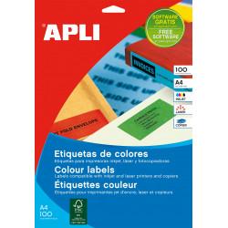 Etiquetas Adhesivas APLI A4 Colores 100h  Azul 210x297 et/hoja 1