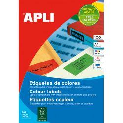 Etiquetas Adhesivas APLI A4 Colores 100h  Amarillo 210x297 et/hoja 1