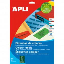 Etiquetas Adhesivas APLI A4 colores 20h  70x37 et/hoja 24 Azul