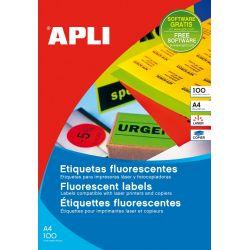 Etiquetas Adhesivas APLI A4 FLUOR 100h  Rojo fluorescente 210x297 et/hoja 1
