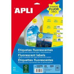 Etiquetas Adhesivas A4 Fluorescentes 20h  Amarillo fluorescente 35mm estrella et/hoja 15