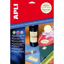 Etiquetas Adhesivas APLI A4 CREMA 20 h  70x37 et/hoja 24 Crema